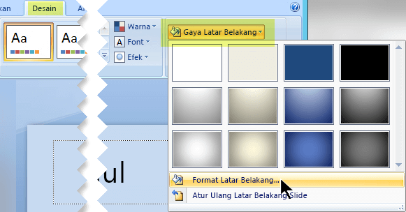 Gambar tab Desain