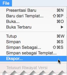 Pada File menu, pilih ekspor