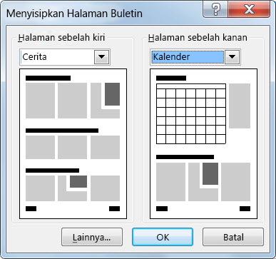 Tambahkan halaman baru ke buletin Anda menggunakan dialog Sisipkan Halaman Buletin.