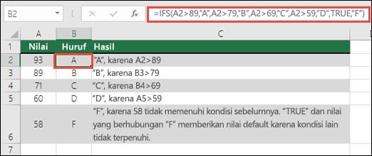 """Contoh Nilai fungsi IFS.  Rumus di sel B2 adalah =IFS(A2>89,""""A"""",A2>79,""""B"""",A2>69,""""C"""",A2>59,""""D"""",TRUE,""""F"""")"""