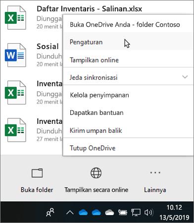 Menu pusat aktivitas yang muncul saat mengklik ikon pendidikan OneDrive