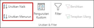 Tombol Urutkan Naik atau Turun di Excel pada tab Data
