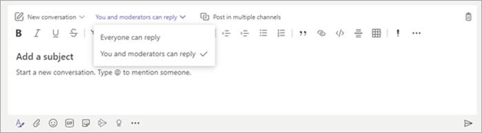 Pengaturan siapa yang bisa membalas postingan saluran.