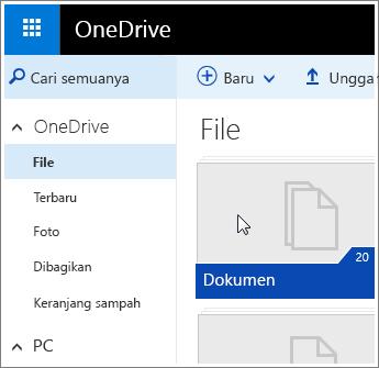 Cuplikan layar folder Dokumen di OneDrive.