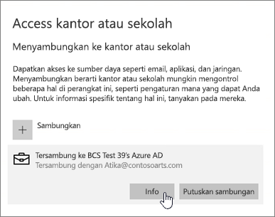 Klik tombol Info untuk menampilkan status sinkronisasi