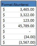 Format nomor akuntansi diterapkan ke sel
