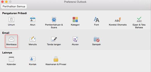 Memperlihatkan preferensi Outlook dengan Baca dipilih