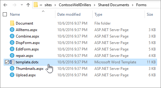 Folder formulir untuk menyimpan Templat