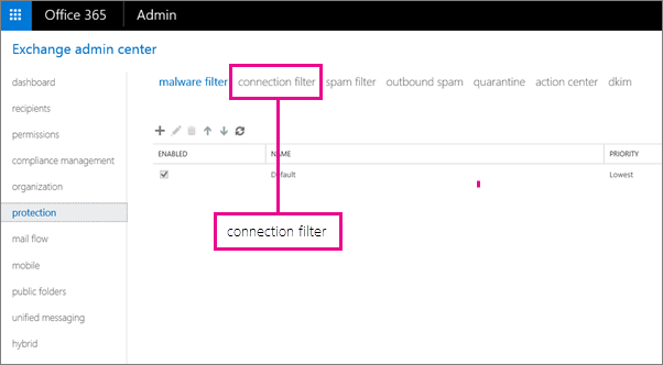 Pilih proteksi, kemudian klik filter koneksi