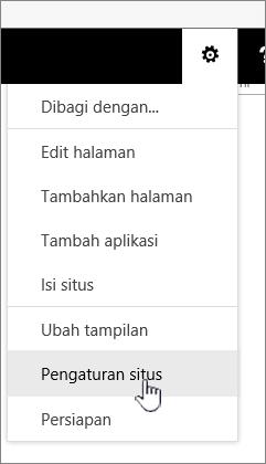 Opsi pengaturan situs di bawah tombol Pengaturan