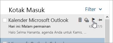 Cuplikan layar opsi bendera di daftar pesan