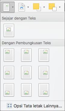 Pada menu Posisi, pilih posisi gambar untuk gambar yang dipilih atau objek gambar yang terkait dengan teks di sekitar.