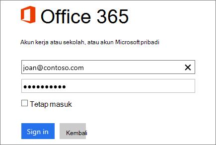 Cuplikan layar panel masuk Office 365