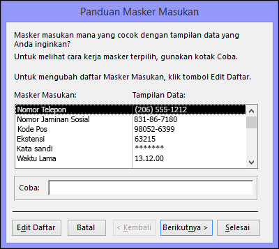 Panduan Masker Input di database desktop Access