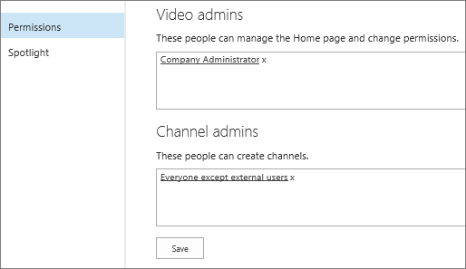 Halaman pengaturan saluran portal - izin