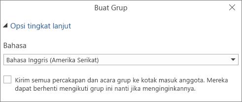Memilih untuk mengirim email grup ke kotak masuk pengguna