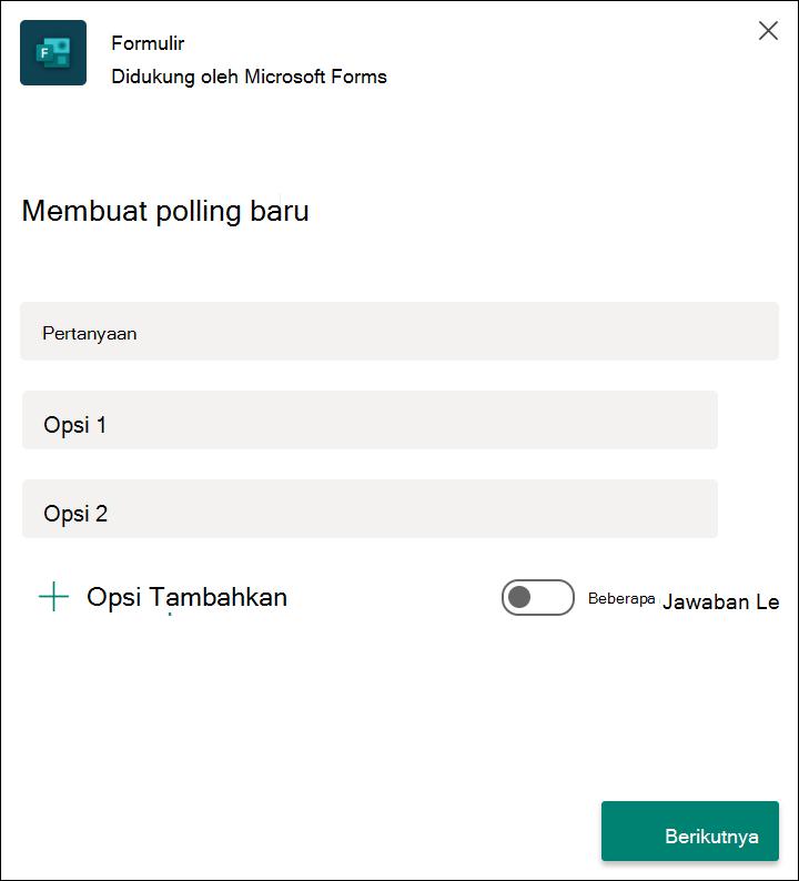 Poling cepat formulir hasil di Microsoft Teams