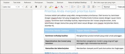 Memformat teks di Word Online