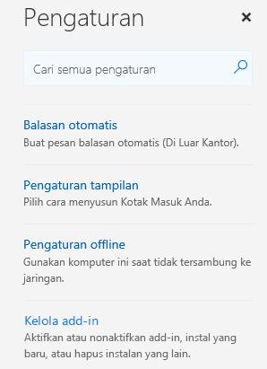 Pilih Kelola add-in dari menu pengaturan