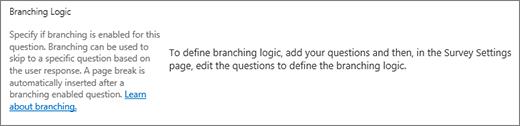 Bagian logika bercabang di dialog pertanyaan baru