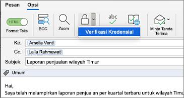 Pesan dengan tombol Enkripsikan dipilih