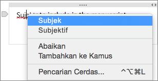 Control-klik kata yang digarisbawahi untuk memeriksa kesalahan ejaan