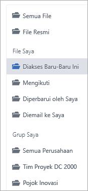 Daftar memperlihatkan lokasi file