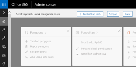 Memperlihatkan halaman Beranda pusat Admin dengan tampilan berwarna abu-abu.