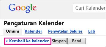 kalender google - klik kembali ke kalender