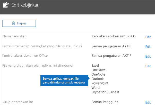 Memperlihatkan semua aplikasi yang filenya dilindungi oleh kebijakan ini.