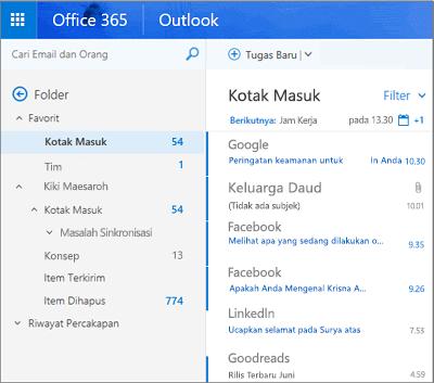 Tampilan utama Outlook di web