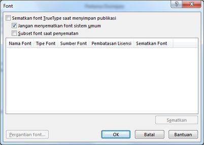 Kelola font yang disisipkan di Publisher 2010