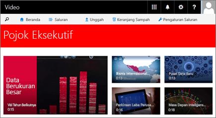 Cuplikan layar laman saluran dengan lima video yang disorot.