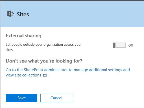 """Cuplikan layar kotak dialog Berbagi Eksternal saat pengaturan """"Izinkan orang di luar organisasi mengakses situs Anda"""" dinonaktifkan."""