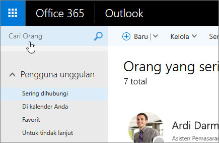 Cuplikan layar orang layar, dengan kotak Cari orang yang dipilih.