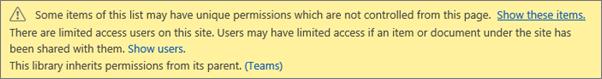 Gambar memperlihatkan pesan untuk izin unik untuk daftar atau pustaka
