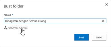 Pilih folder Berbagi dengan Setiap Orang di OneDrive