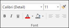 Perintah yang tersedia di grup Access Font