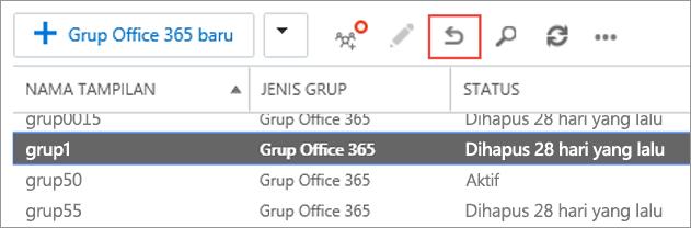 Pilih grup yang ingin Anda pulihkan, lalu klik ikon pulihkan.