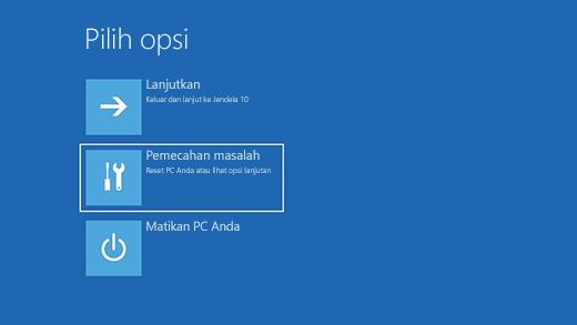 Pilih layar opsi di Windows Pemulihan Lingkungan.
