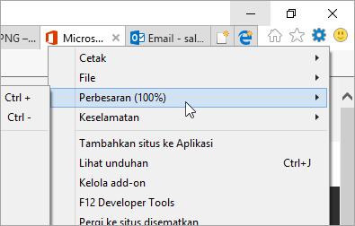 Cuplikan layar menu Alat di Internet Explorer
