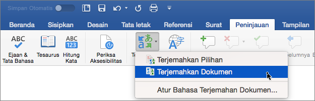 Tab Peninjauan dengan Terjemahkan Dokumen disorot