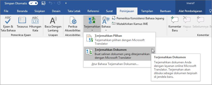 Pita Word dengan opsi Terjemahkan Dokumen diperlihatkan