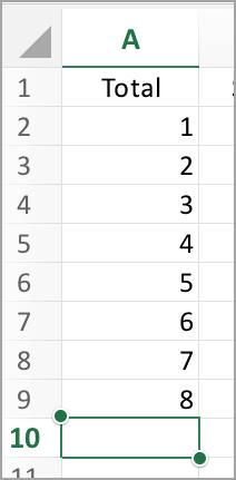 Pilih kolom untuk jumlah otomatis