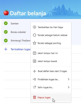 Cuplikan layar memperlihatkan opsi untuk menghapus tugas dalam menu konteks