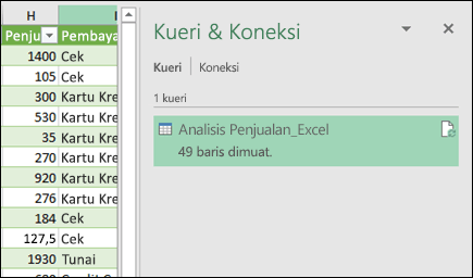 Panel hubungan dan kueri Power query