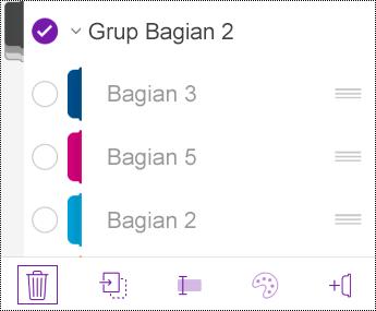 Menghapus grup bagian di OneNote untuk iOS