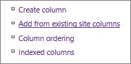 Closeup menambahkan link kolom sudah ada di halaman pengaturan