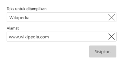 Kotak dialog hyperlink
