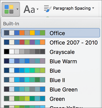 Opsi warna saat Anda mengklik tombol warna
